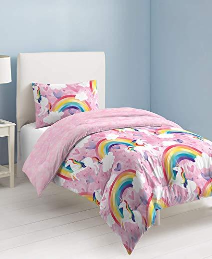 Amazon Com  Dream Factory Unicorn Rainbow Comforter Set Twin Pink