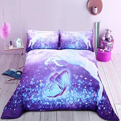Amazon Com  Encoft 3d Unicorn Comforter Set White Unicorn And