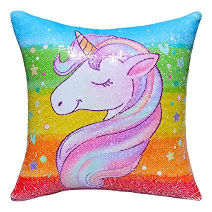 Amazon Com  Icosy Sequin Unicorn Pillow Cover, Mermaid Pillow Case
