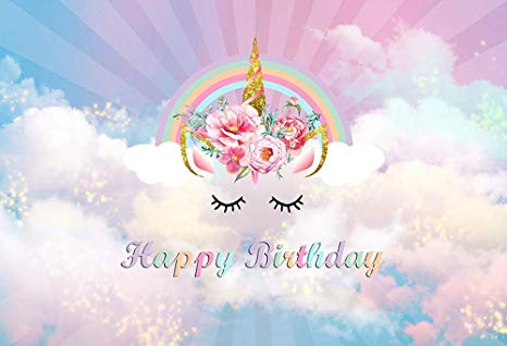 Amazon Com  Mehofoto Happy Birthday Unicorn Themed Rainbow Photo