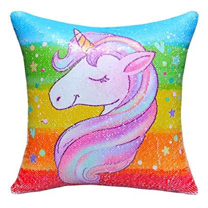 Amazon Com  Mhjy Unicorn Pillow Magic Reversible Sequins Pillow