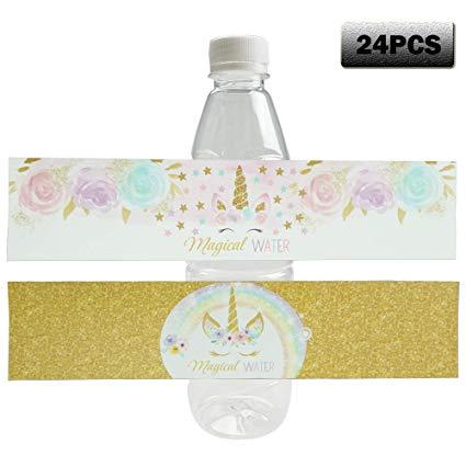 Amazon Com  Rainbow Unicorn Bottle Wraps Waterproof Bottle Labels