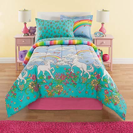 Amazon Com  Rainbows & Unicorns Girls Twin Comforter Set (6 Piece