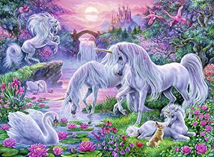 Amazon Com  Ravensburger Unicorns In The Sunset Glow 150 Piece