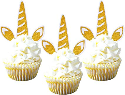 Amazon Com  Zealax Set Of 12 Pieces Glitter Unicorn Horn Cupcake