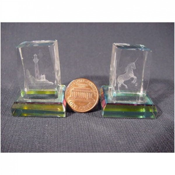 Collectible   Mini Laser Crystal Art Glass Block   Unicorn   Lighthouse