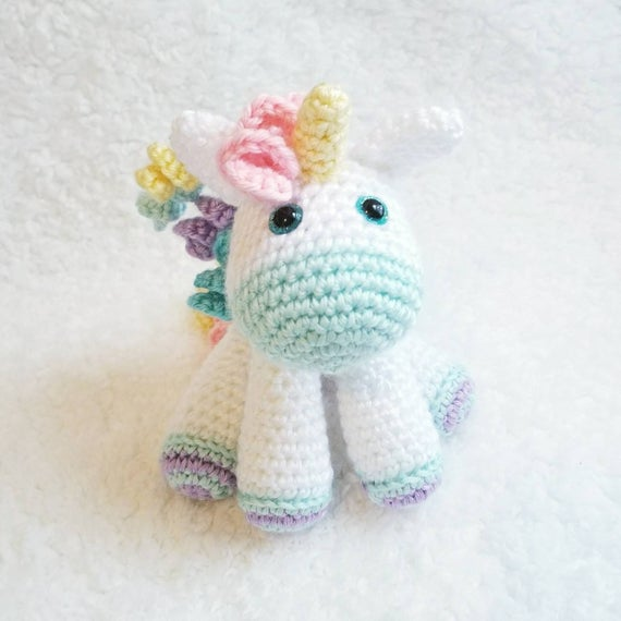 Crochet Unicorn Plush Small Unicorn Toy Toddler Toy