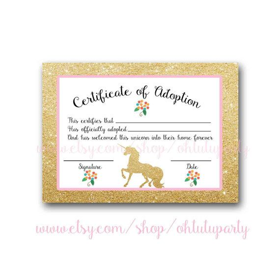 Custom Order Unicorn Adoption Certificates By Ohtutuparty