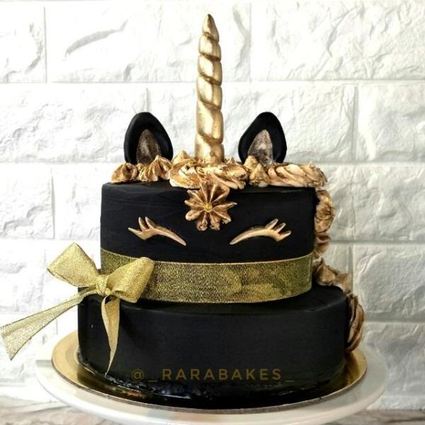Customized] Black & Gold Unicorn Cake, Food & Drinks, Baked Goods