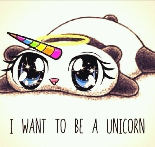 Cute Panda Want To Be A Unicorn On We Heart It