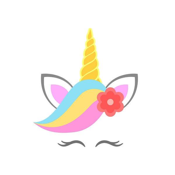 Cute Unicorn Face With Flower  Unicorn Head  Vector Art Print By