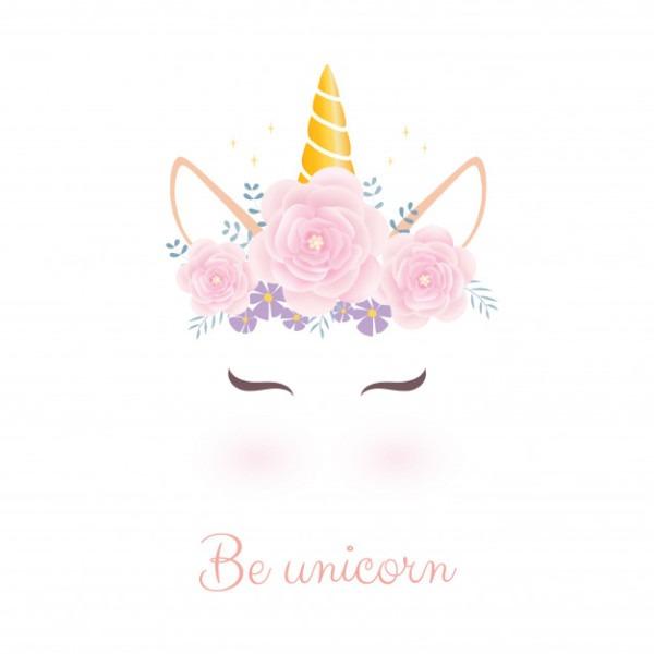 Cute Unicorn Head With Flower Crown  Vector