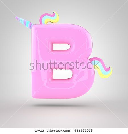 Cute Unicorn Pink Letter B Uppercase With Different Colors Horn