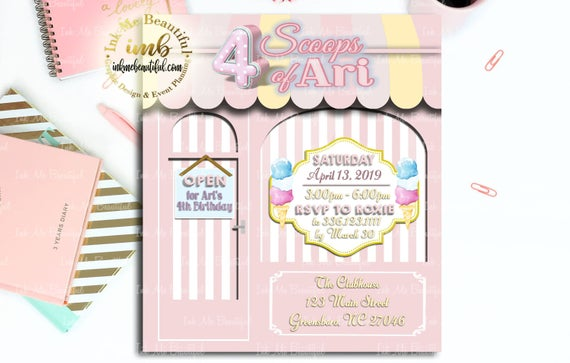 Digital File Ice Cream Shop Invite
