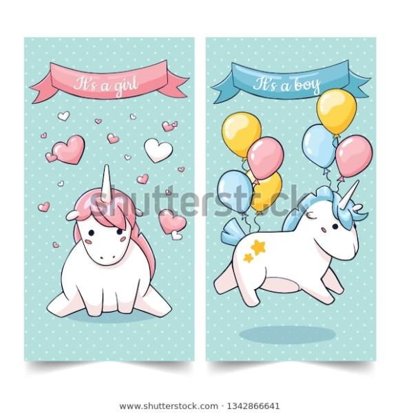 Doodle Unicorn Greeting Cards Newborn Celebration Stock Vector