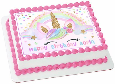 Edible Unicorn Sparkles Wafer 1 4 Sheet Cake Topper Birthday