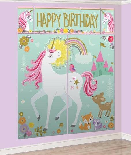 Fairytale Magical Unicorn Scene Setter Birthday Wall Decor 12
