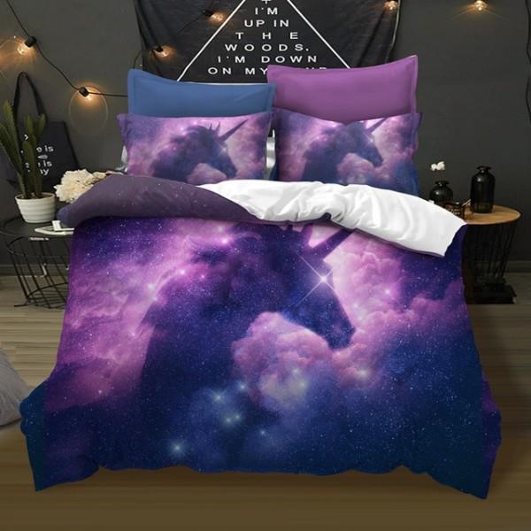 Fanaijia 3d Unicorn Bedding Set Full Size Galaxy Unicorn Cartoon