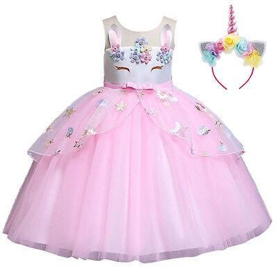 Flower Girl Unicorn Dress For Kid Party Tutu Birthday Princess