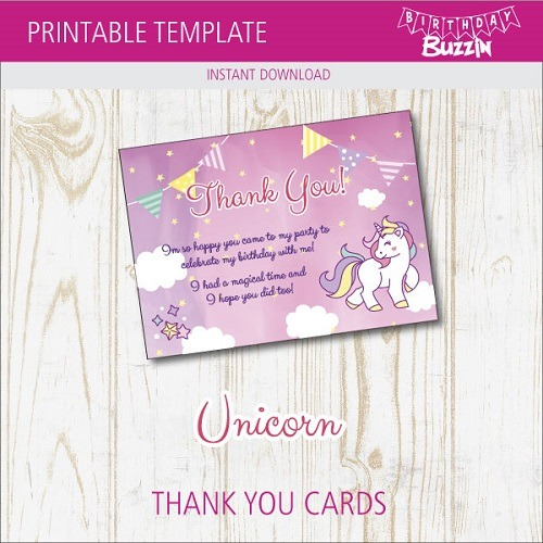 Free Printable Rainbow Unicorn Thank You Cards