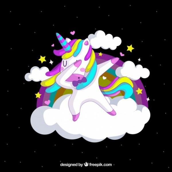 Funny Unicorn Doing Dabbing Vector