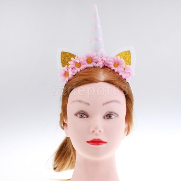 Girl Fantasy Unicorn Horn Ear Headband Pink Flower Headpiece Party