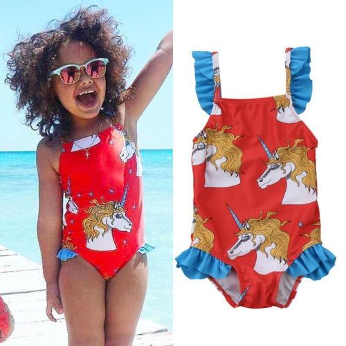 Girl One Piece Swimwear Swimsuit Beachwear Unicorn Lace Braces
