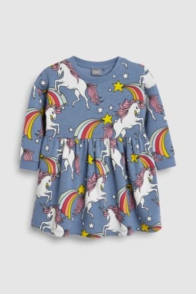 Girls Next Blue Unicorn Sweat Dress (3mths