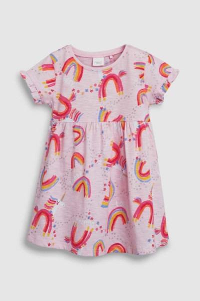 Girls Next Multi Short Sleeve Unicorn Print Dress (3mths