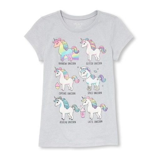 Girls Short Sleeve Glitter Unicorn Graphic Tee