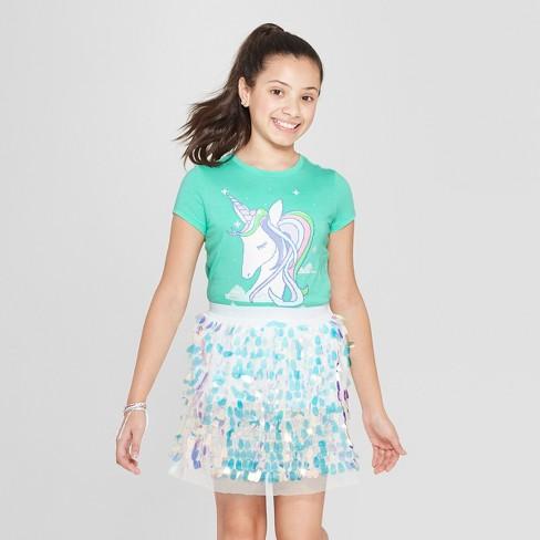Girls' Short Sleeve Graphic Unicorn T