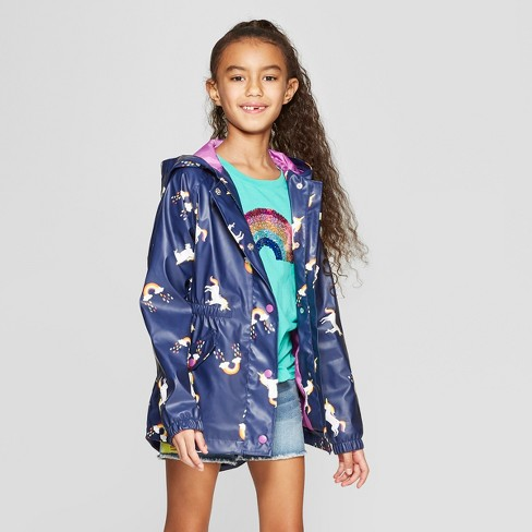 Girls' Unicorn Print Rain Jacket