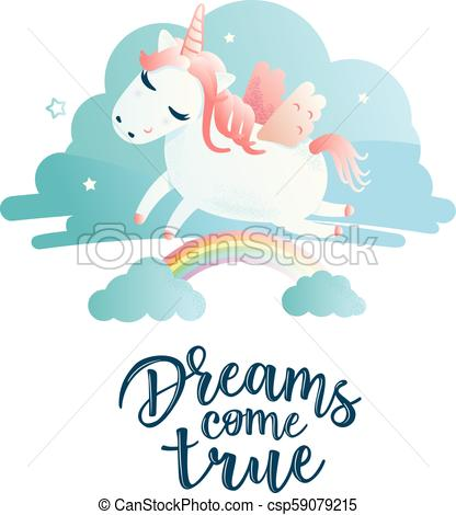 Greeting Card With  Unicorn  Inscription  Vector Illustration Of A