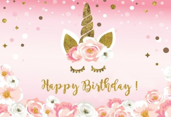 Happy Birthday Unicorn Party And Photography Backdrop Vinyl