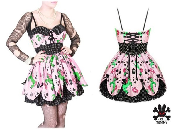 Hell Bunny Pink Zombie Petal Unicorn Zombies Dress Ssdd