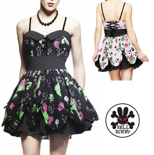 Hell Bunny Zombie Unicorn Petal Horror Kitsch Mini Dress Punk