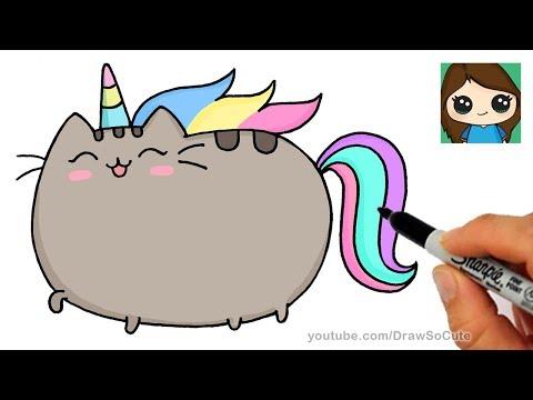 How To Draw Pusheen Unicorn Easy