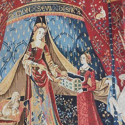Large Margot Creations De Paris Lady & The Unicorn Needlepoint