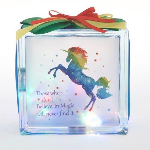 Led Glass Block Rainbow Unicorn 19cm