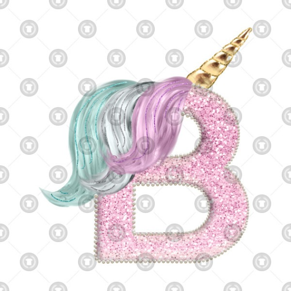Letter B    Animal Alphabet    Unicorn Monogram