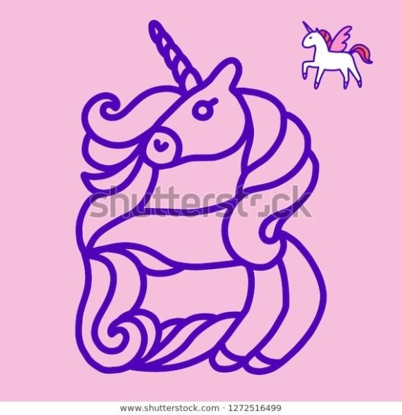 Letter B Unicorn Written By Unicorns Stock Vector (royalty Free
