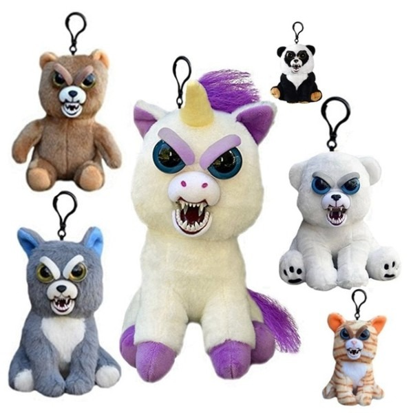 Mini Feisty Pets Change Face Animal Unicorn Bear Dog Panda Stuffed