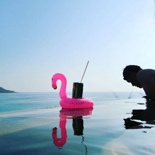 Mini Inflatable Flamingo Unicorn Donut Pool Float Toys Drink Float