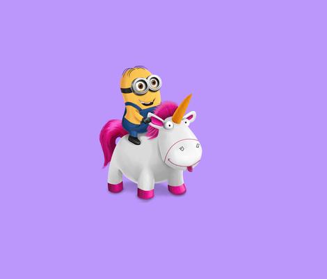Minion Riding Unicorn Fabric By Samalah On Spoonflower