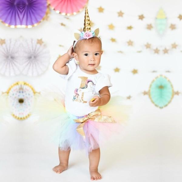My Baby First Birthday Unicorn Party Rainbow Colorful Fairy Tutu