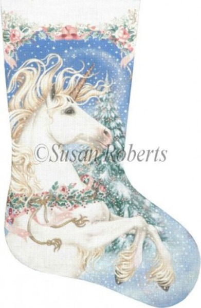 Needlepointus  Magic Christmas Unicorn Hand Painted Needlepoint