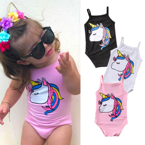 Newborn Kids Baby Girl Unicorn One Piece Swimsuit Infant Little