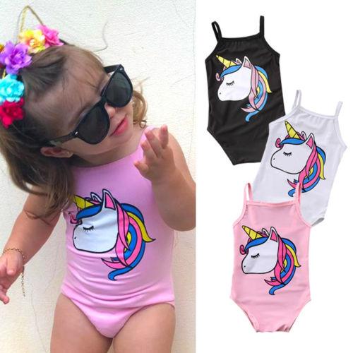 Newborn Kids Baby Girl Unicorn One Piece Swimsuit Infant Little