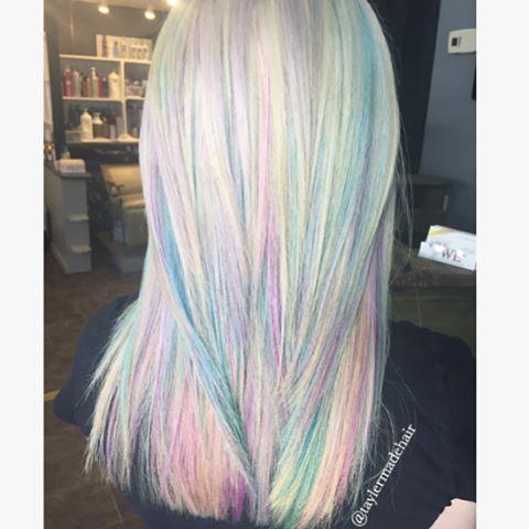 Opal Hair Color, Blonde Rainbow, Unicorn Hair, Mother Of Pearl