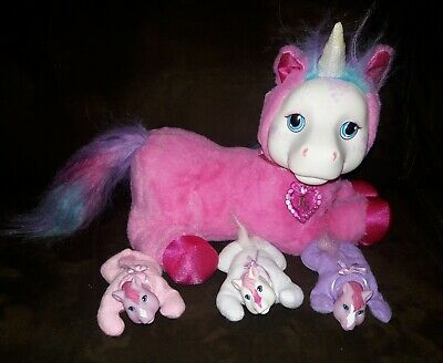 Pony Surprise Starburst Pink Plush Unicorn With 3 Foals Babies